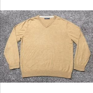 Nautica V-Neck Light Weight Wheat Brown Sweater